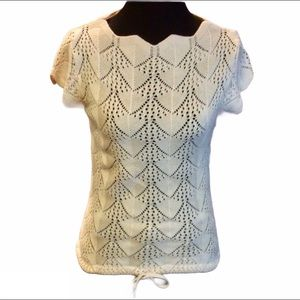 Open Knit Crochet Short Sleeve Scalloped Sweater